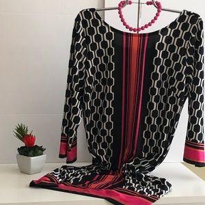 AB Studio M Black, Pink and White Geometric Dress